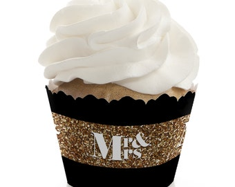Mr. & Mrs. Gold Cupcake Wrappers - Wedding Party Cupcake Decorations - Set of 12