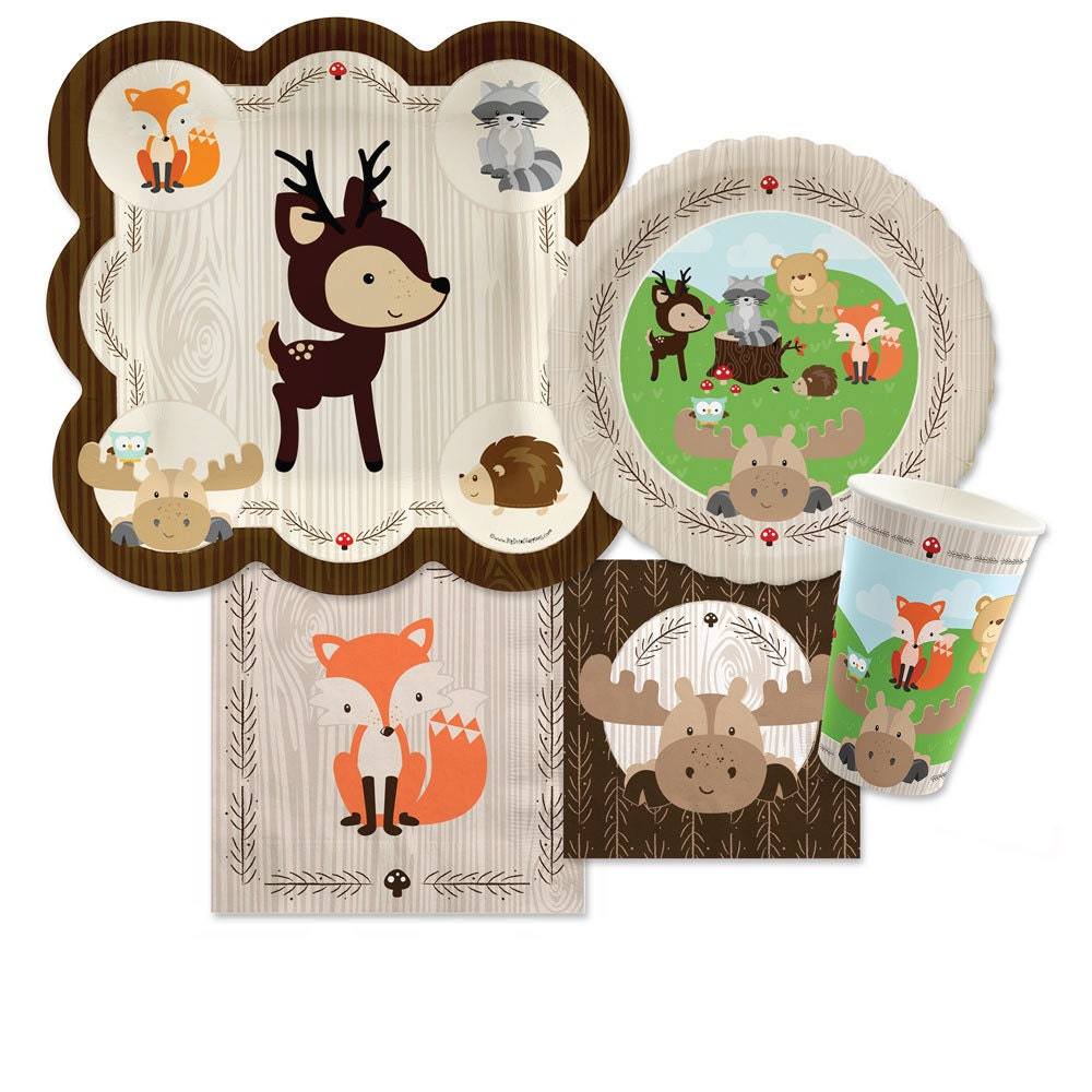 woodland creatures tableware kit baby shower by bigdotofhappiness