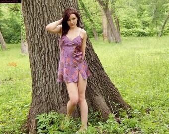 Pretty VICTORIA'S Secret TROPICAL Print Purple SATIN Nighty Short Nightgown Slip Chemise - Lingerie - S