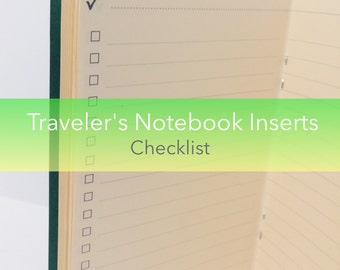 Checklist Traveler's Notebook Insert Booklet {A6 Size} // Choose Cover & Paper Colors!