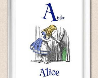 Alice in Wonderland Print Alphabet Art A is for Alice A095