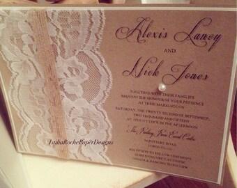 Vintage ~ Rustic ~Chic Wedding Invitation