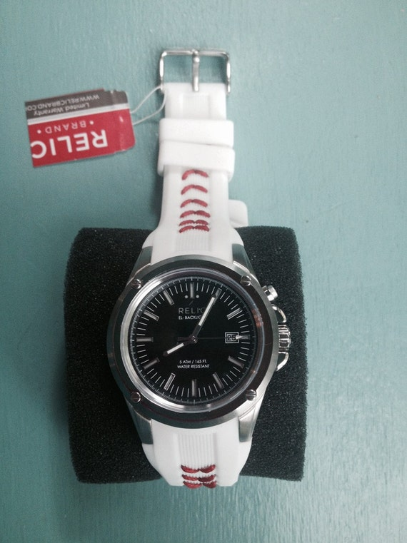 men 39 s relic watch with baseball seams stitched into the