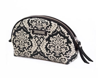 Leather Cosmetics Case, Leather Makeup Bag with decorative painting