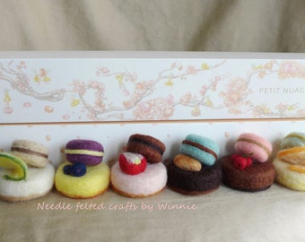 Needle felted macaron dessert- box of 6 lime, blueberry, strawberry, almond, red currant and orange