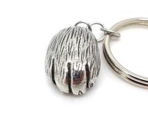 Cat Paw Keychain in Pewter, Animal Keyring, Cat Key Holder, Pewter Paw