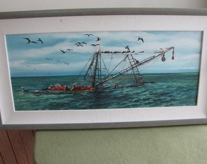 A Frigate Afternoon An Original Oil Painting Vintage Ocean Nautical Art