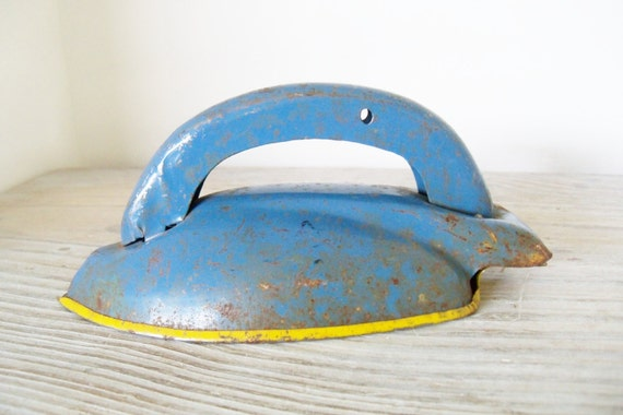 Vintage Toy Iron - Wolverine Tin Iron - Metal Toy Iron - Blue Yellow Tin - Tin Toy - Rusty Tin Iron - 1950s