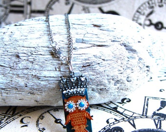 Owl necklace, wood tile, jewelry, mixed media on a silver chain