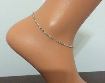 silver  -blue  ankle bracelet, foot jewelrry, anklet, gold anklet, body chain
