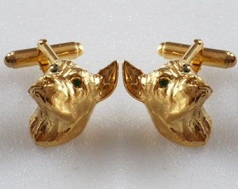 Boxer head cufflinks Gold Plated sterling silver Green Tsavorite eyes