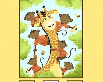 "Suzybee Oolie The Monkey & Zoe The Giraffe Quilt Fabric Panel 100%Cotton 35""x 44"""