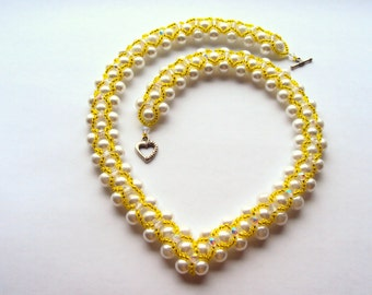 Beaded   Embroidered  Necklace   Yellow White Necklace   OOAK Jewelry Ready to ship