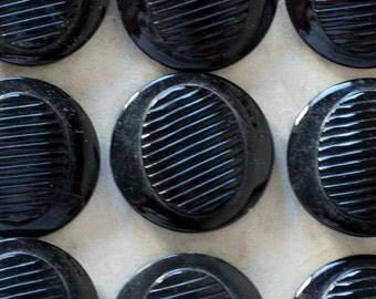 12 Round Vintage Black Czech Glass Buttons on Card
