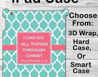 Monogram iPad Mini 1/2/3 Case Personalized iPad Air 1/2 Bible Verse Quatrefoil iPad 2/3/4 Smart Case iPad Retina Flip Case, 3D Case  #2352