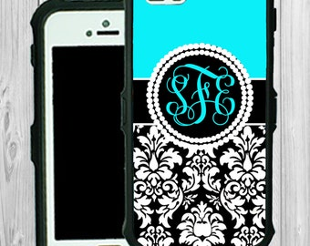 Monogram iPhone Case Personalized iPhone 5 5C Blue with Demask Monogrammed Phone Case iPhone 5S Water Resistant Heavy Duty Case #2517