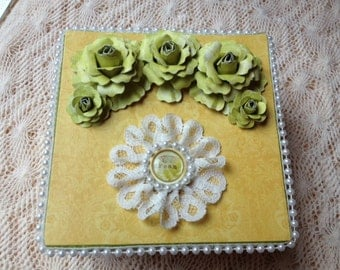 Hand Decorated Gift Box-Yellow Dream-5 in.