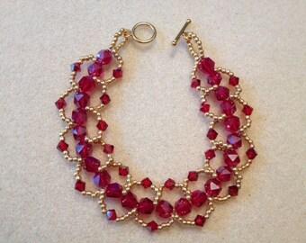 Hand Beaded Loop Bracelet-Red/Gold-7.5 in.
