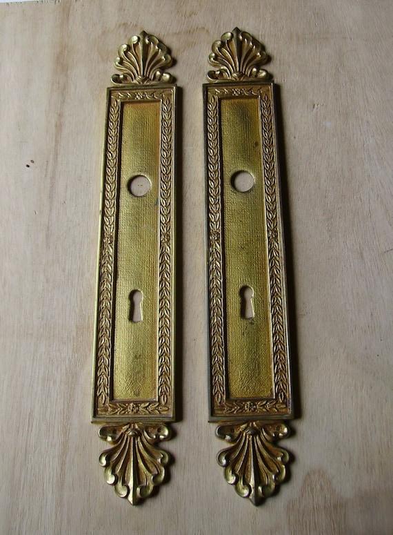 Antique french brass door finger plates by vintagefrancedirect for Door finger plates