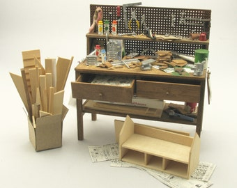 "Miniatures ""Work table realization cabinets"" Artisan Handmade Miniature in 12th scale. From CosediunaltroMondo"