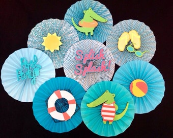 "Set of 8 - 12"" paper rosette ""Pool Party"" themed backdrop/decorations"