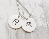 Initial necklace - Hand stamped necklace - Personalized jewelry - Initial charm - Gift for her - Gift for mom
