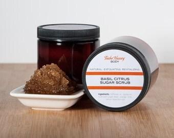 Men's Basil Citrus Sugar Scrub, Brown Sugar Scrub, Body Scrub, Sugar Scrub