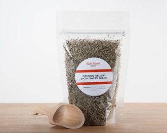 Stress Relief Bath Salts, Stress Relief Bath Soak, Eucalyptus and Mint Bath Salts, Organic Bath Soak