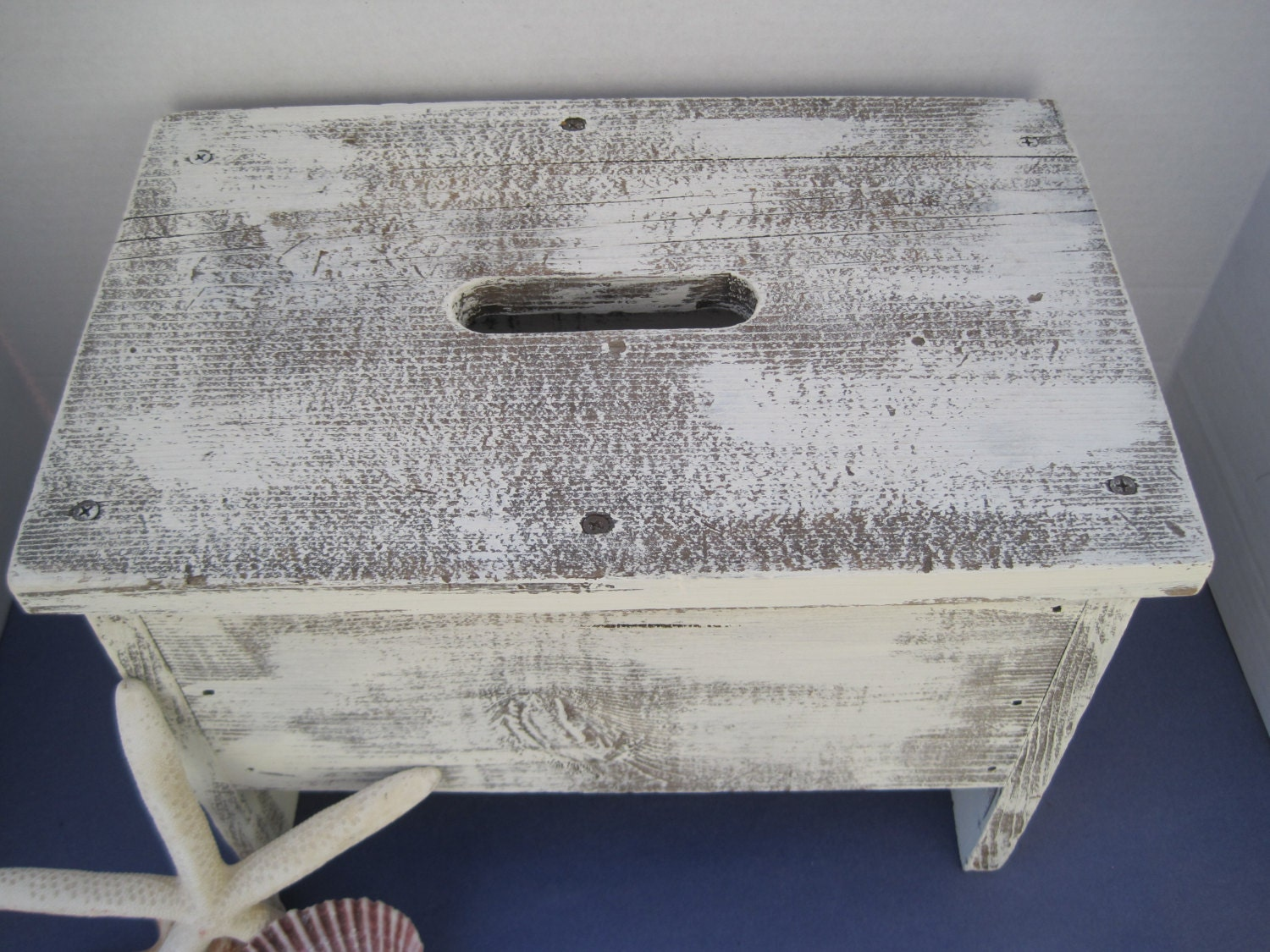 Shabby And Distressed Hand Painted Wood Stool In Old White Chalk Pain. Full resolution‎  picture, nominally Width 1500 Height 1125 pixels, picture with #38415E.