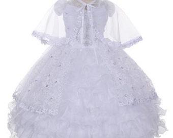 Virgin Mary Embroidered Baptism Dress, christening dress, baby infant toddler dress, mi bautizo, tulle, organza, bolero, layered, flower
