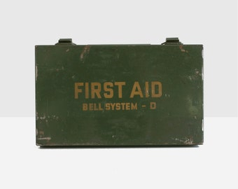 vintage first aid kit, medical first aid kit, military first aid kit, bell system first aid kit, first aid kit, telephone collectables