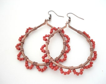 Large Copper Coral Wire Wrapped Hoop Earrings Boho Upcycled Copper Wire  & Coral Hoop Earrings Metalwork Unique Earrings