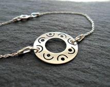 Tribal sterling silver bracelet, Modern silver bracelet, Stackable Disc bracelet, Simple silver bracelet, 925 sterling silver bracelet,