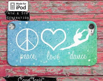 Peace Love Dance Quote Symbols Blue Mint Sparkle Cute Case iPod Touch 4th Generation or iPod Touch 5th Generation or iPod Touch 6th Gen Rubb