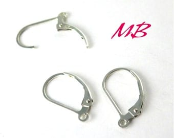 1 Set Lever Back Earring Hooks, Sterling Silver, 2 Pieces