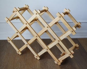 Vintage Wooden Wine Rack , Natural Eco Friendly Home Decor Easy Storage Folding Organizer, Natural Wood 10 Bottle, Folding Wooden Wine Rack