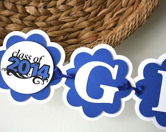 Graduation Banner - Class o 2015 - Graduation Party Decorations - Grad Hat Banner-  Party Decorations - Congrats!