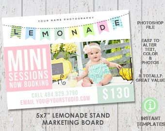 Lemonade Stand Marketing Board Mini Sessions Photoshop Template - M1S001