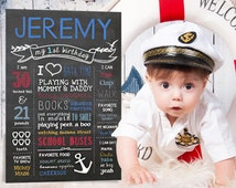 1st Birthday Chalkboard Sign - Nautical Little men first birthday chalk board poster photo prop - DIGITAL FILE!