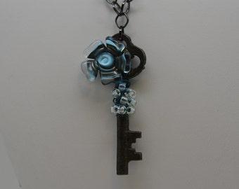 Skeleton Key, Blue Flower Skeleton Key, Lampwork Flower Skeleton Key