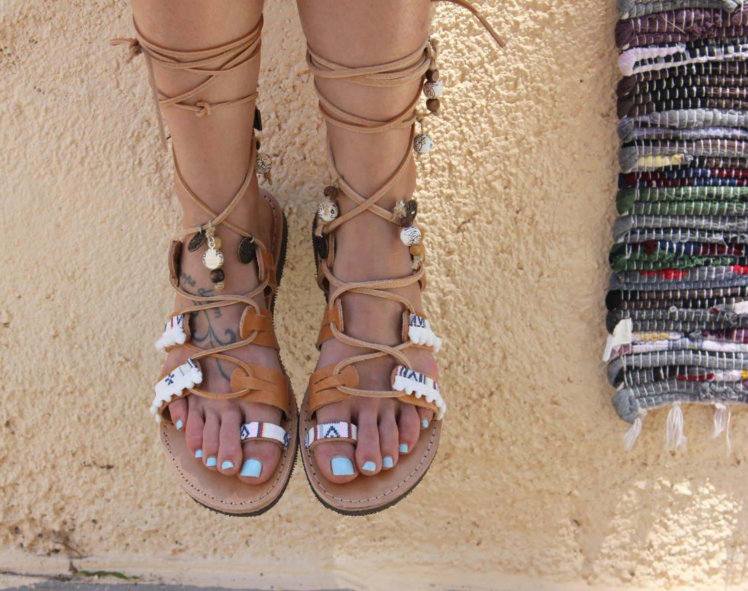 Tie Up Gladiator Leather Sandals Boho Style Greek Genuine