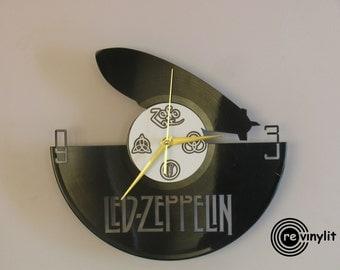 Led Zeppelin clock, vinyl record clock, Led Zeppelin, Jimmy Page, Robert Plant, vinyl wall clock, record wall clock, mancave decor