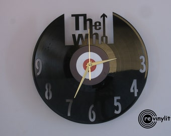 The Who clock, vinyl record clock, The Who, vinyl record art, vinyl wall clock, record wall clock, vinyl clock, mancave decor