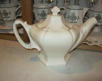 Vintage Six Cup White China Teapot