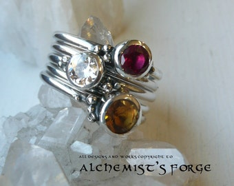 sterling silver fire stacking rings pagan elemental ring stacking rings ruby - Pagan Wedding Rings