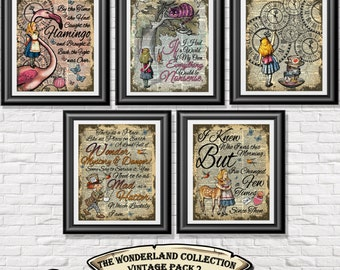 Alice in Wonderland poster prints, 5 vintage Alice art printed onto old dictionary book pages. Mixed media pack 2 wall decor shabby chic