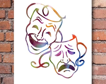 Comedy Tragedy Masks Art Print - Abstract Watercolor - Wall Decor