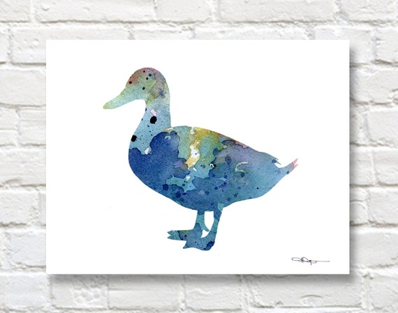 blue duck art print abstract watercolor painting wall