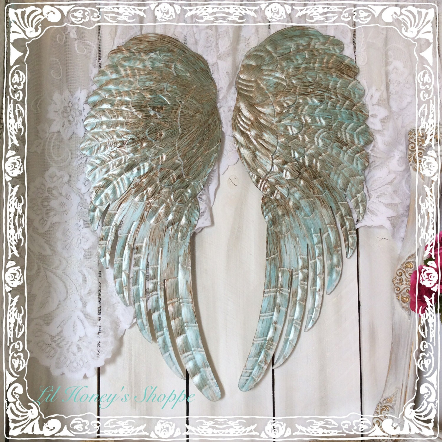 Large metal angel wings wall decor distressed turquoise for Angel wall decoration