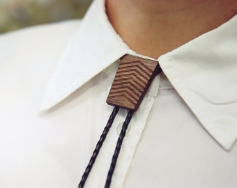 Black Leather Bolo Tie with Wood Trapezium Slider, Genuine Black Leather, Adjustable Tension Clasp, Walnut timber, Silver Tips, Handmade